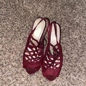 Dark red high heels